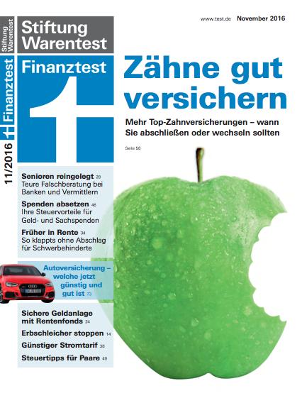 Cover Stiftung Warentest - Zahnzusatzversicherung 2016