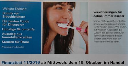 Vorschau: Zahnzusatzversicherung Test - Finanztest 11-2016